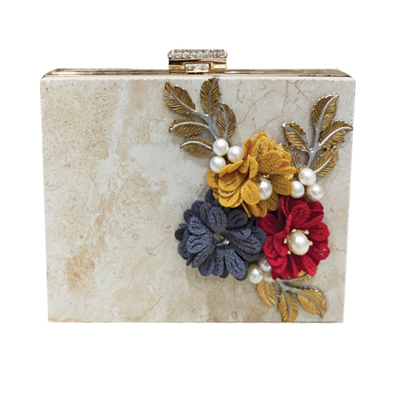 Bridal Fancy Flower Design Clutch For Women OffWhite 5815