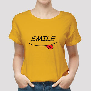 Smile Printed Unisex Half Sleeve Printed Half Sleeve T-shirt Yellow 99910