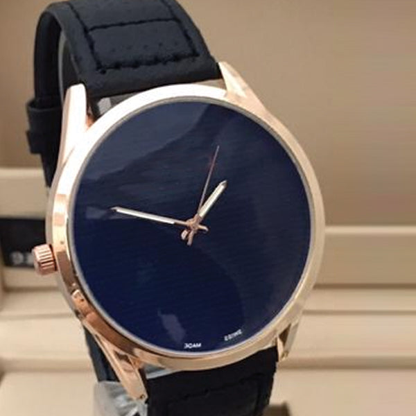 Latest Stylish High Quality Dark Blue Dial Golden Case With Black Strap Watch For Men's 598211