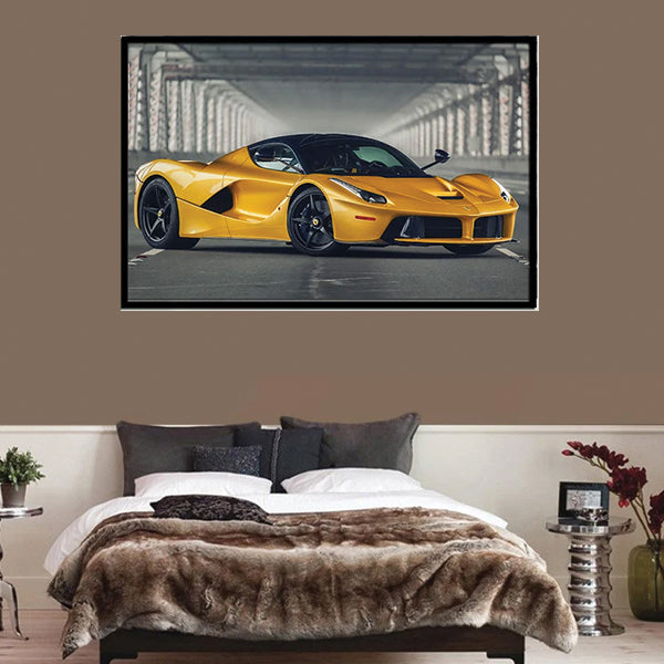 Ferrari Laferrari Yellow Car Single 3d Landscape Wall Frame AJ-07