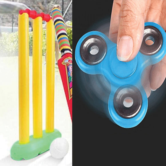 Pack of 2 My Cricket Kit Game For Kids & Plastic Triangle Fidget Hand Finger Spinner | 24HOURS.PK