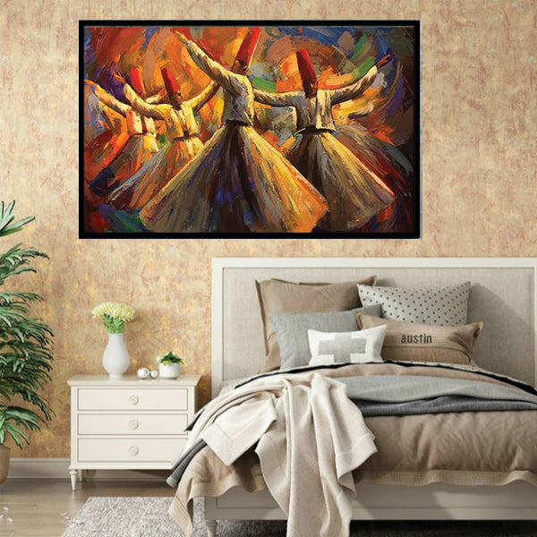 Turkish Sufis Dancing Art Painting Single Landscape Wall Frame AJ-012 | Framerstore.com
