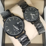 Simple Couple Watches Second With Date Ladies And Gents Pair Black & Silver 97996 | Abdul Basit Janjee