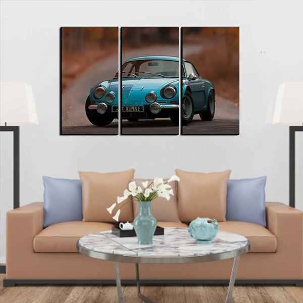 Vintage Blue Car 3d 3Pcs Wall Frame AJ-08