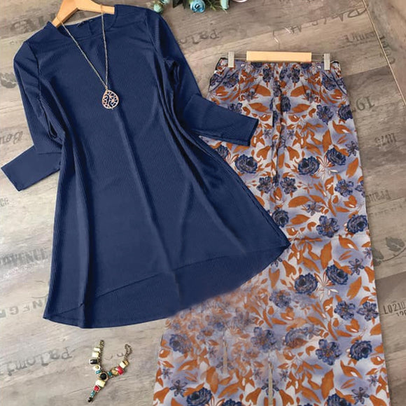 2 in 1 Kurti and Bootcut Trouser Set for Women & Girls Blue & Blue Brown Trouser LP-002