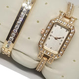 Rectangle Shaped Dial Watch With Bracelet For Women's Golden 542399 | Abdul Basit Janjee