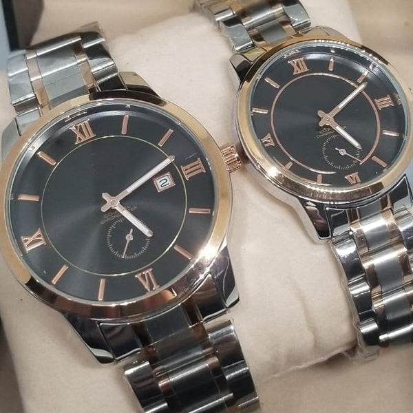 New Stylish Couple Watches Second With Date Ladies And Gents Pair Silver & Brown 97996 | Abdul Basit Janjee