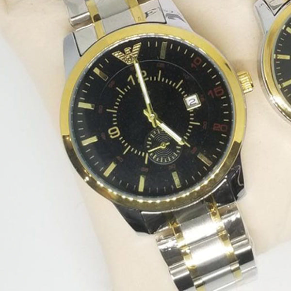 Creative Couple Watches Second With Date Ladies And Gents Pair Black Dial With Silver & Golden 97996 | Abdul Basit Janjee