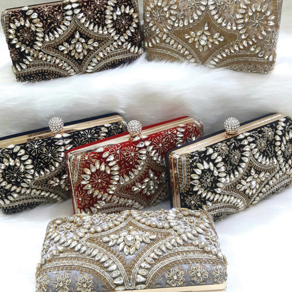 Creative Fashionable Bridal Rectangular Shaped Clutch Purse Available In Random Colors 6137