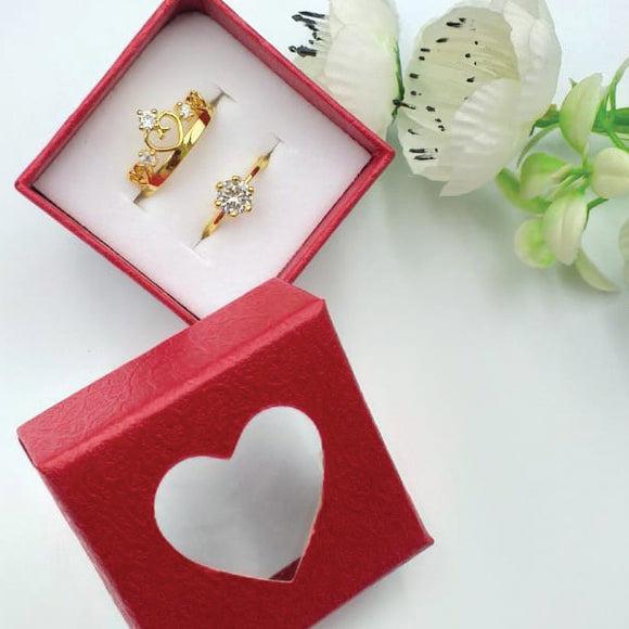 Pack of 2 Multi Design Double Heart & Flower Diamond Design Ring With Heart Design Box For Her Gift or Engagement Golden 0864 | 24hours.pk