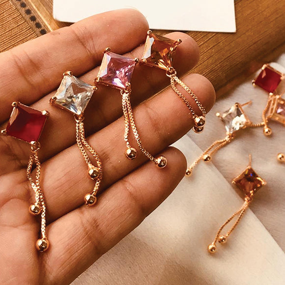 Muticolors Polygon Shaped Stones Long Drop Chain Earrings Set For Her 50004