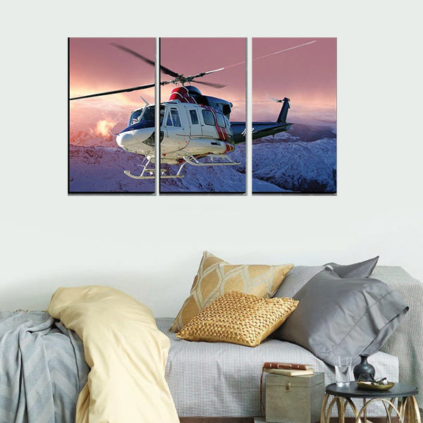 White Helicopter Flying 3d 3Pcs Wall Frame AJ-015