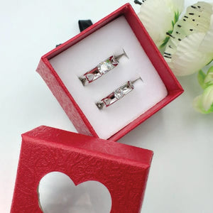 Pack of 2 Double Sided Heart Design Ring With Heart Design Box For Her Gift or Engagement Silver 0864 | 24hours.pk