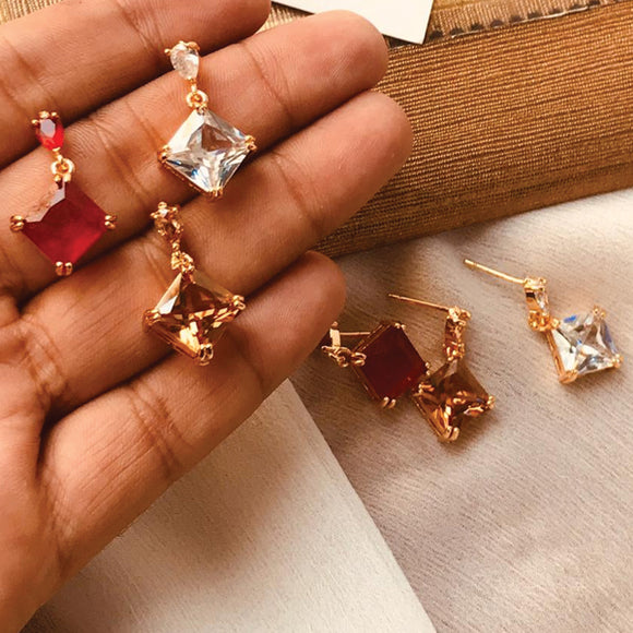 Muticolors Polygon Shaped Stones Small Earrings Set For Her 50005
