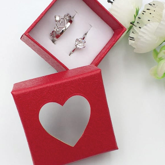 Pack of 2 Multi Design Double Heart & Flower Diamond Design Ring With Heart Design Box For Her Gift or Engagement Silver 0864 | 24hours.pk