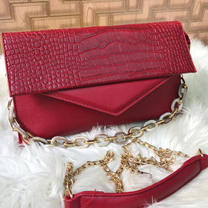 Fancy Cross Body Bag With 2 Long Chain Crocodile Design Bag Pink