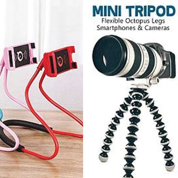Pack of 2 Random Color Flexible Hanging Neck Lazy Smartphone Holder Stand And  Mini Tripod with Flexible Octopus Legs | 24HOURS.PK