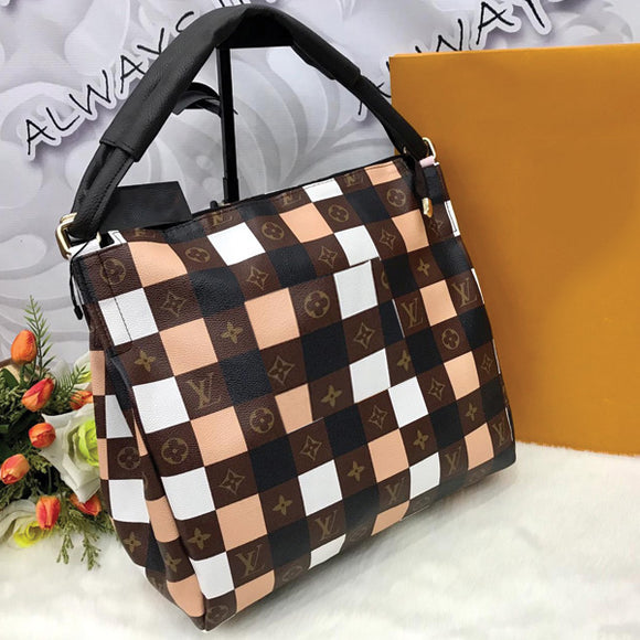 CHECK DESIGN HIGH QUALITY BIG SIZE BAG FOR WOMEN'S BROWN