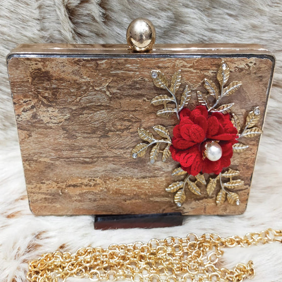 Bridal Fancy Red Flower Design Clutch For Women Brown 5815