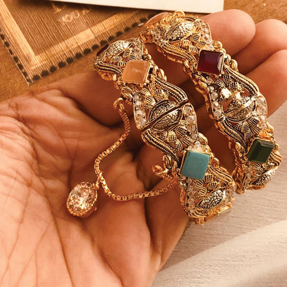 Semi Precious Multicolors Stone Studded Bangles Set 91813