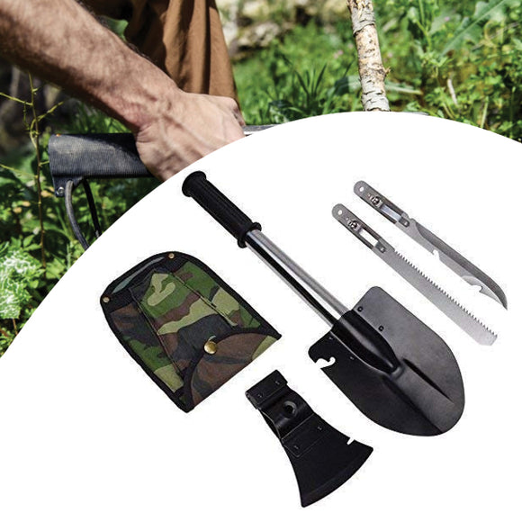 Multi Function Axe Spade Shovel Saw Knife Weapon Tool Camping Survival Versatile | 24hours.pk