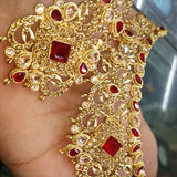 Vintage Creative & Polygon Shaped Red Stone Necklace Set For Her 158641 | 24hours.pk