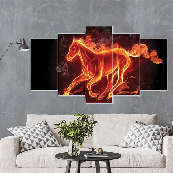 Fire Warm Running Horse 5 Pcs Small 3d  Canvas Wall Frame WF0201 | Framerstore.com