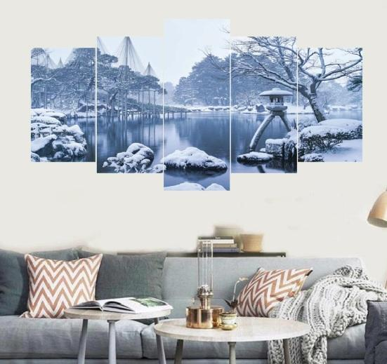Winter Snow Frozen Lake  5 Pcs Small 3D Wall Frame 0025 | framerstore.com