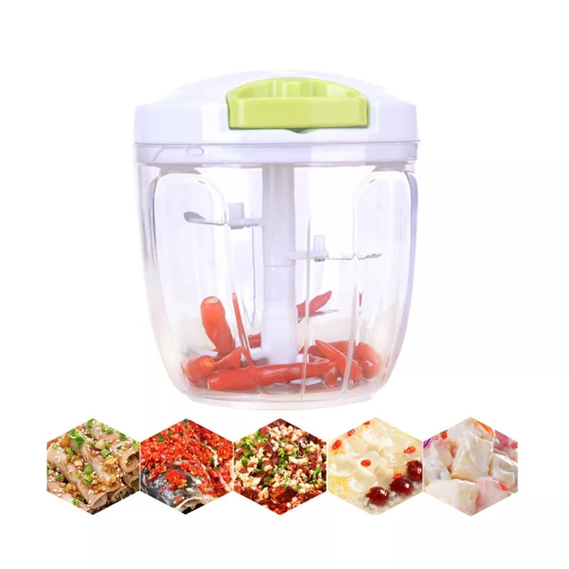Portable Size 900ML Baby Kids Food Cutter Chopper Vegetable Fruit Meat Grinder Shredder Manual Slicers Kitchen Utensil Random Colorsm 7642 | 24hours.pk