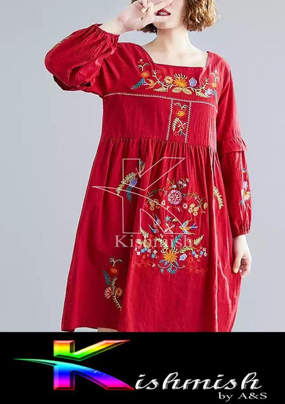 Kishmish Red embroidery Kurti For Her