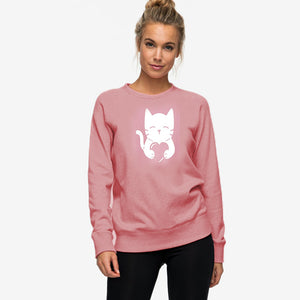 Cat Heart Printed Sweatshirt for Women | 24HOURS.PK