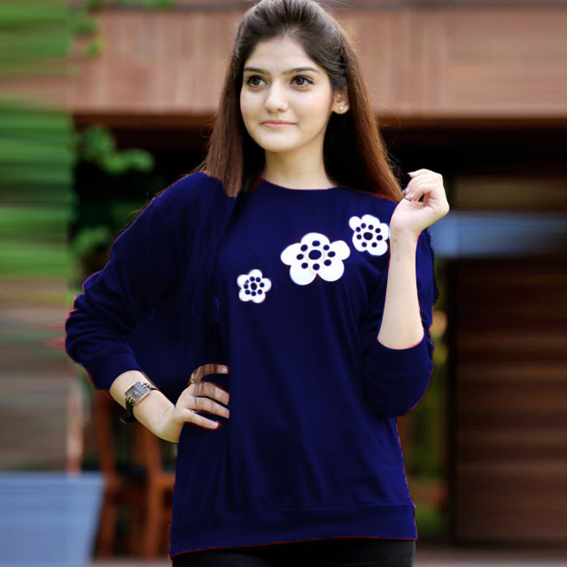 Flower Printed Sweatshirt For Womens Blue | 24HOURS.PK
