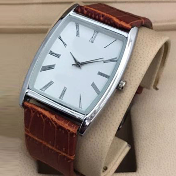 Latest Design Watch For Mens Silver White Dial with Brown Belt | 24HOURS.PK