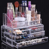 Three Layer Drawer Clear Acrylic Crystal Cosmetic Organizer Makeup Case Storage Box Jewelry Display Stand Holder Nail Polish Rack | 24HOURS.PK