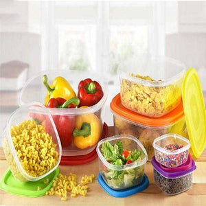 7PCS Plastic Square Food Container with Rainbow Lids Purchase 500 sell 850 | 24HOURS.PK