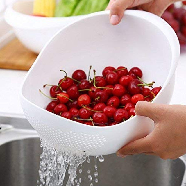 Pack of 2 Livsmart Multi-Function with Integrated Colander Mixing Bowl Washing Rice, Vegetable and Fruits Drainer | 24hours.pk