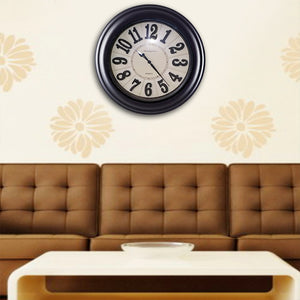 Analog dark brown wooden wall clock white | 24HOURS.PK