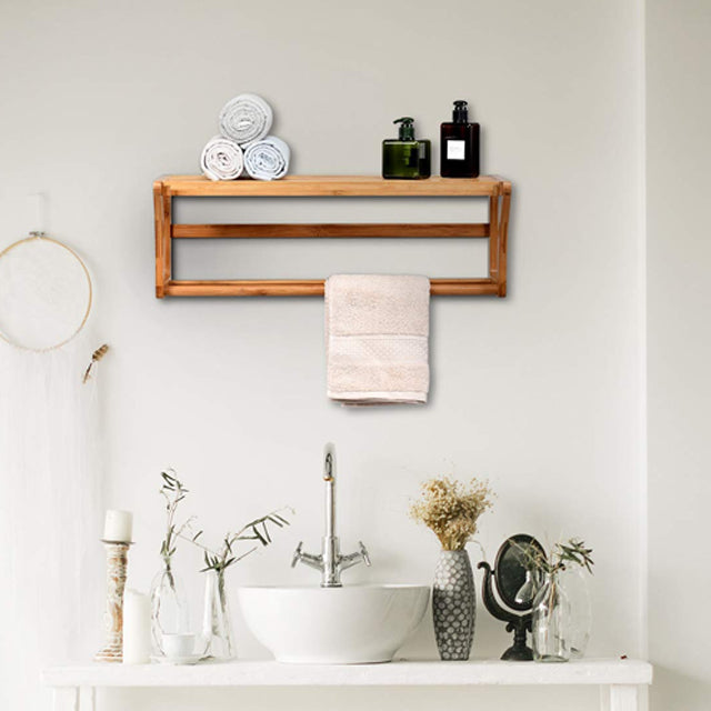 Wall Mounted Towel Rack with Shelf Storage for Bath & Household Items | 24hours.pk