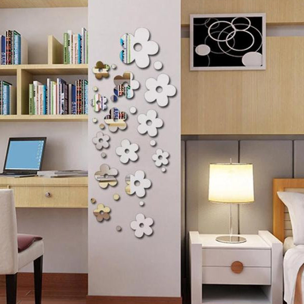 3d flower living rooom mirror decorative wall sticker | 24hours.pk