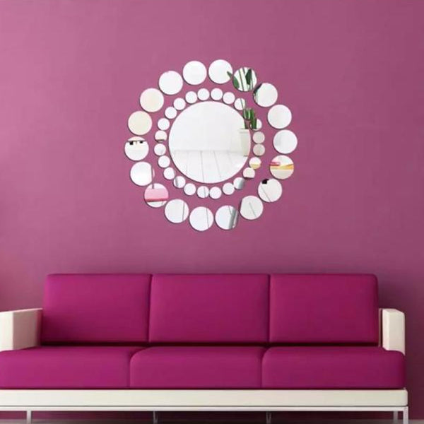 Clearance! Leyorie Elegant Applique Round Mirror Wall Sticker Acrylic Surface Decal Home DIY Art Mural Decor 31 pcs | 24hours.pk
