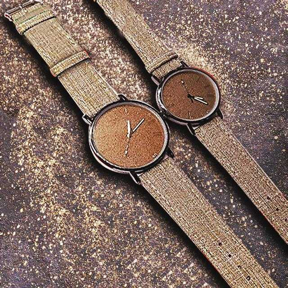 Pack of 2 Stylish Unisex Watches - Light Brown | 24hours.pk