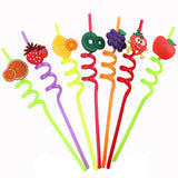 High Quality Spiral Fruit Shaped Plastic Drinking Straw 125 Each Pack Of 3 | 24hours.pk