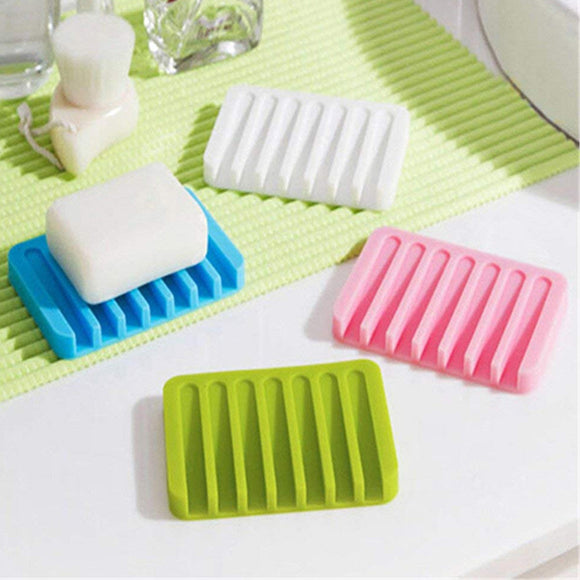 Pack of 2 Multi Color Bathroom Silicone Soap Dish Storage Holder Soapbox Plate Tray Drain | 24HOURS.PK