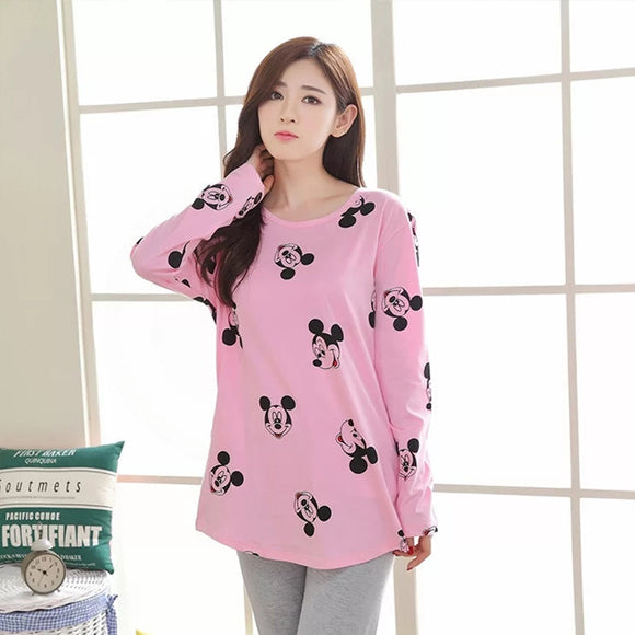 Pink Mickey Mouse Faces print Night Suit for Women Sleeping Wear | 24HOURS.PK