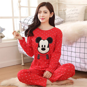 Red Mickey Mouse Printed Style Night Suit For Women | 24HOURS.PK