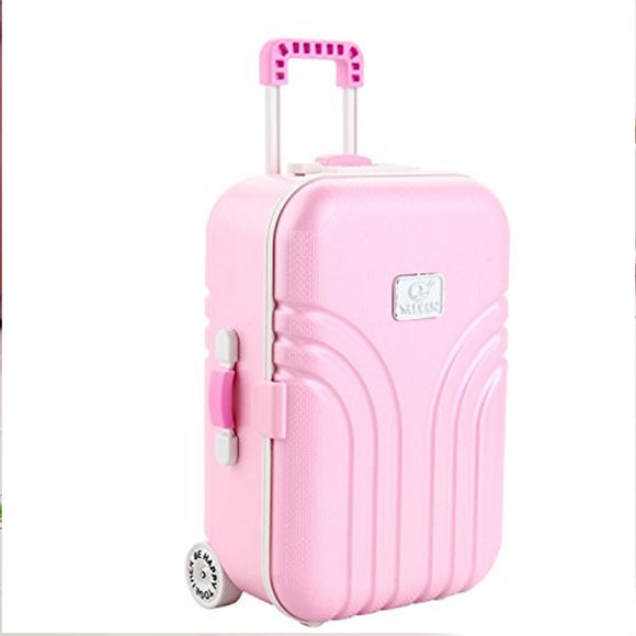 Pink Candy Color Jewelry Storage Box Luggage Trolley Style Music Musical Box | 24HOURS.PK