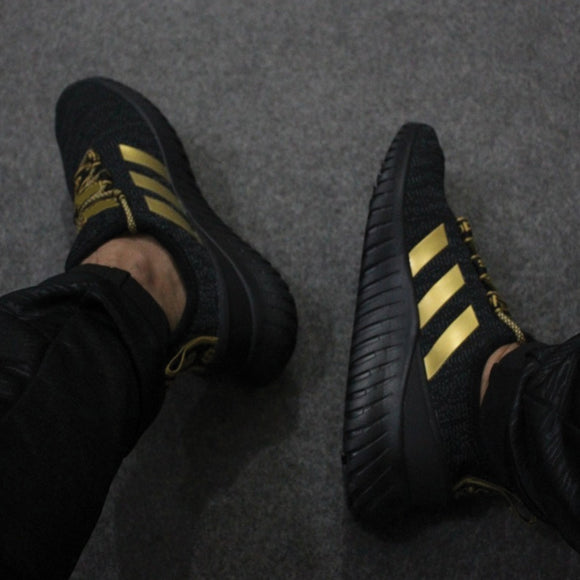 Strips Design Sneakers For Men's Black & Golden | 24hours.pk
