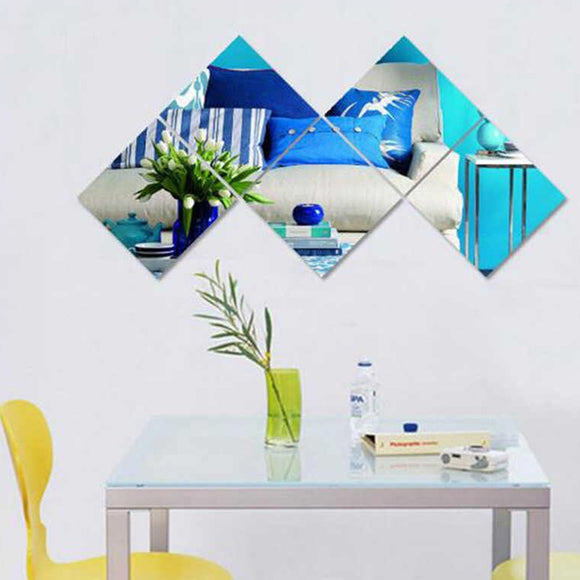 Three-Dimensional Square Wall Stickers of Acrylic Bathroom 3D Monolithic Decorative Mirror Bedroom Living Room Mirror Wall Stickers | 24hours.pk