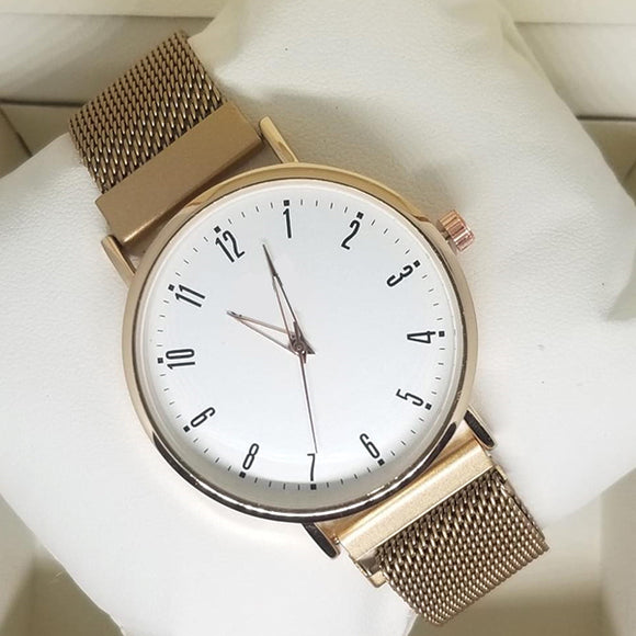Magnet Chain Watch For Womens Golden | 24hours.pk