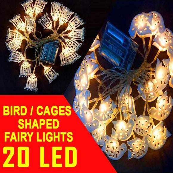 Little Bird and Cages Shaped Random Design 20 LED String Fairy Light | 24hours.pk